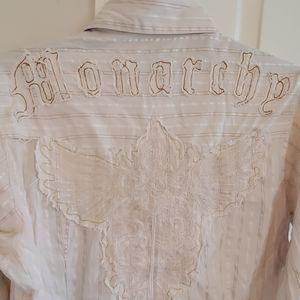 mens xl monarchy button front shirt cream raw hem